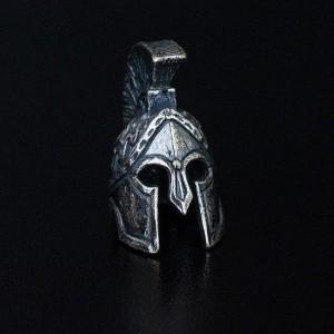 """Бусина """"Шлем Спартанца"""" с серебряным покрытием"""