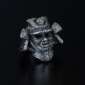 """Бусина """"Шлем Самурая"""", ручное литье с серебряным покрытием"""
