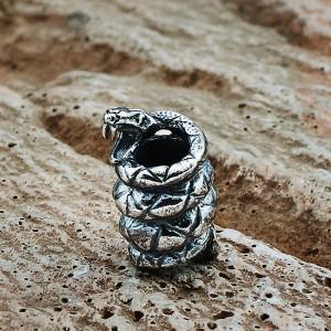 """Бусина """"Змея"""", ручное литье с серебряным покрытием"""