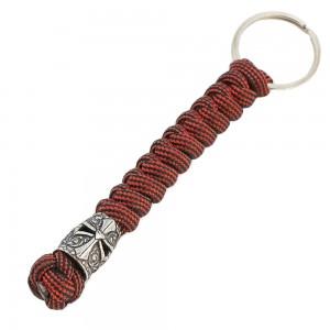 """Брелок из паракорда, Viper """"Шлем храмовника"""", wine red. С латунной бусиной ручного литья c серебряным покрытием"""